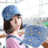 Free Shipping 2pcs Flexfit Korean Style Flat-Top Jean Military Cap Hat Men and Women Small Stars Flat Caps Superme Hats