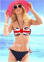 Free shipping summer women sexy stars&stipes patterns bikini with padded twisted swimsuits ladies bikini swimwear