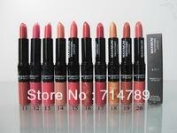 free shipping new makeup 2 IN 1 WATERPROOF LIPSTICK & LIP GLOSS LIP STICK LIPGLOSS(24pcs/lot)20 colors choose