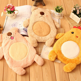 Cartoon stereo animal plush hot water bottle heating pads rubber liner