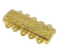 Free shipping!!!Zinc Alloy Magnetic Clasp,Guaranteed 100%, Rectangle, gold color plated, 5-strand, nickel, lead & cadmium free