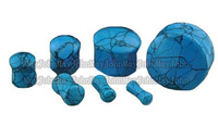 [Min. Order $20] Synthetic turquoise stone ear plug flesh tunnel mixing size body piercing jewelry MJEG3629