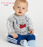 3Retail Free shipping baby sport suit cartoon bear pattern boys suit lovely clothing for kids
