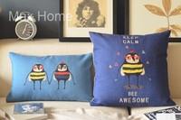 "Free Shipping 2 pcs/lot 18"" 20"" Bee Theme Blue Retro Vintage Style Linen Decorative Pillow Case Pillow Cover Cushion Cover Set"