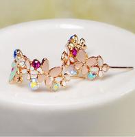 Exquisite love good quality butterfly flower ShanZuan aesthetic temperament wreath earring stud earrings