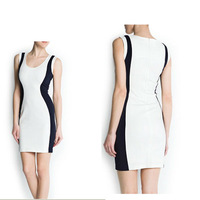 LADY CREW NECK SLEEVELESS VEST DRESS BACK WITH INVISIBLE ZIPPER WF-4164