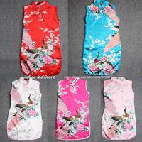 Silk fabrics 1-7 years Children Chinese Traditional baby Clothing Tang suit Cheongsam style girls Dress#X102 Free Shipping