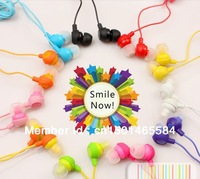 Lose money promotion 12 colors to choose fruit smile earphone in ear headphones & headphones earphones free shipping 10pcs/lot