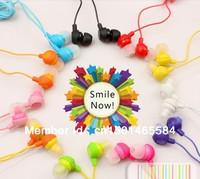 Lose money promotion 12 colors to choose fruit smile earphone in ear headphones & headphones earphones free shipping 10pcs/lot