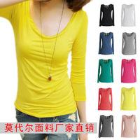 2 autumn 100% cotton modal o-neck slim t-shirt female long-sleeve basic shirt loose candy color