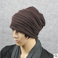 Tidal current male hat hip-hop cap autumn and winter thermal knitted hat knitted fashion pleated cap