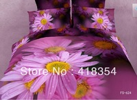 NEW Beautiful 4PC 100% Cotton Comforter Duvet Doona Cover Sets FULL / QUEEN / KING SIZE bedding set 4pcs purple flower OP-4