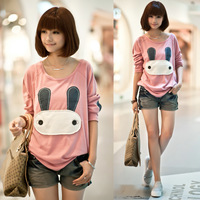 Free Shipping 2013 New Arrival Autumn Winter Women Clothes Girl Cute Pink/grey Batwing Loose Sweatshirts 188
