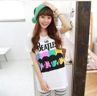 Fashion brand Brand designer Nice t-shirt female women's beatles t-shirt fashion short-sleeve preppy style  for women 2013