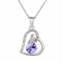 2014 New Design Zirconia Stone Heart Pendant Necklace For Women Silver Plated Nickel Free Available in 6 colors