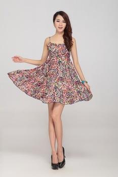 Free shipping Brand women dress sexy Korean big swing skirt strap summer
