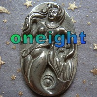 Free Shipping 2pcs/lot Carved Natural Pyrite Mermaid Pendant Bead wholesale