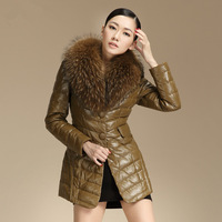 2013 Fashion women's leather down jacket leather down coat genuine leather down coat with fur collar