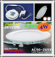 Free shipping 2 pcs round LED Panel Lights 4W AC 85-265V 105mm 320 lumen smd 2835 lamp bulb led ceiling light warm/cool white