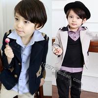 2013 children's clothing male child preppy style british style blazer jacket outerwear flower girl formal dress trench