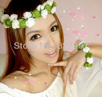 5x Fashion mori girl lululemo headband with wrist band wedding hair flower garland paper crown DDW02