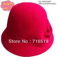 Small quanity wholesale Red winter hat for ladies and girls 100% wool felt wear in Winter ,fall ,spring and topee style fashion