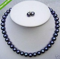 9-10mm round natural tahitian black pearl necklace 18inch 14K  match earrings