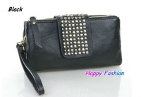 Promotion Black Studs Rivets Clutch Bag Organizer Wristlet Magnetic Snap Evening Bag Punk Rivet Style Designer Tote Bag