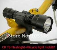 High Power 5 Models 1300LmCREE XM-L T6LED Bike Bicycle Light Flashlight Torch+bicycle light holder 1set freeshipping!