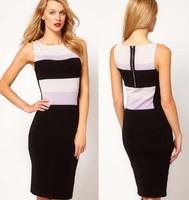 Color block decoration o-neck sleeveless tank dress slim formal dress one-piece dress kn202