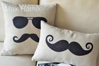 "Free Shipping 2 pcs/lot 18"" 20"" Mustache Theme Retro Vintage Style Linen Decorative Pillow Case Pillow Cover Cushion Cover Set"