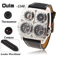 Oulm double movement watch sports table belt thermometer compass hot-selling watch Relogio