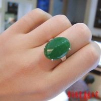 925 silver platinum green chalcedony ring women's ring pure silver jade women's ring big 15mm 20mm measurement