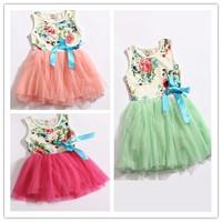 4pcs  Children girl's 2014 summer sleeveless colorful flower TUTU dress Pastoral style CFLR 3color 4sizes