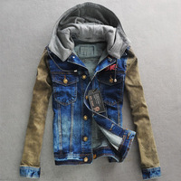 Frankie morello fashion hot-selling male denim jacket with a hood