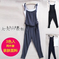 2013 summer women's lacing casual suspenders spaghetti strap casual trousers plus size bib pants fabric soft excellent