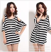 2013 summer stripe strapless T-shirt short-sleeve o-neck loose  top