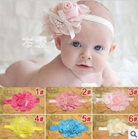 10pcs baby girl headband infant hair accessories pearl rose hair band kid headwear Koeran child hairband baby photography props