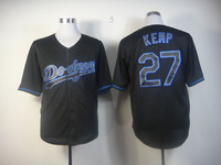 New jersey! Los Angeles Dodgers 27 Matt Kemp Black Fashion Jersey Baseball Top Jerseys, cool base, size M-3XL