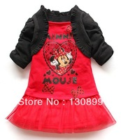Free shipping new fashion girls shawl + Minnie dress girls princess dress casual children's cartoon clothes