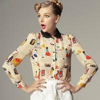 2013 summer peter pan collar cartoon portrait silk shirt top fashion women's long-sleeve shirt