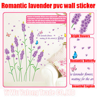 2sets/lot 2013 best sale removable pvc Romantic lavender room decoration wall sticker  home decor  50*70cm free shipping