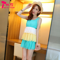Peach summer women's 2013 sleeveless slim solid color chiffon skirt fungus beach dress one-piece dress