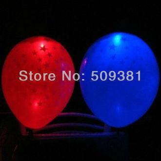 50 pcs/Lot, Free Shipping, Led Light Flashing Balloons, Star style. Festival, Party, Wedding Decoration, 8 Colour. 5Pcs/ Bag.(China (Mainland))