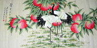 Free Shipping! Longevity Original Chinese Crane Art Painting, Crane Painting Silk Wall Art, High Quality