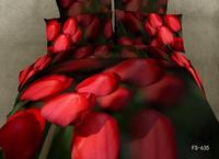 New Hot Beautiful 4PC 100% Cotton Comforter Duvet DOoona Cover Sets FULL / QUEEN / KING SIZE bedding set  4pcs red tulip