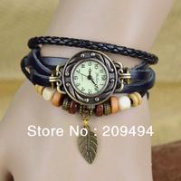 Newest Fashion Woman Wristwatch Leather Band With Leaf  Bracelet  Watch Antique Quartz  Beautiful Watch  Free Shipping