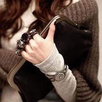 New 2014 fashion small bag Hot sell women's handbag Vintage day clutch skull ring bag clutch shoulder Black evening bag