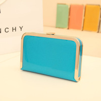 Free shipping 2013 fashion metal chain shoulder bag japanned leather day clutch candy color small bag evening bag women bag