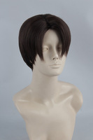 Levi/Rivaille Short Dark Brown Medium Parting Styled Anime Cosplay Costume Wig Heat Resistance Hair Free Shipping